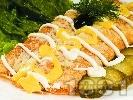 Рецепта Солени палачинки с картофи, шунка и топено сирене запечени на фурна